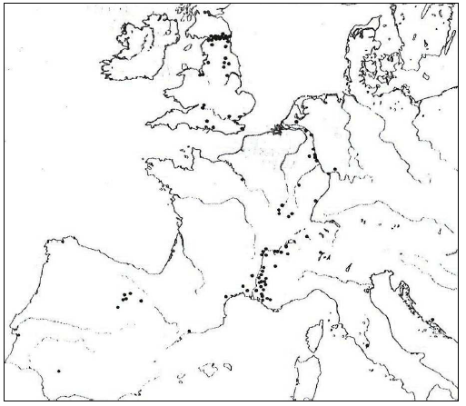 Map of the votive inscriptions dedicated to the Matres, Rϋger, 1987, p. 7, fig. 3