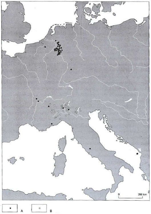 Map showing the distribution of the dedications to the Matronae with and without epithets. ). A. Matronae with epithets. B. Matronae without epithets. Derks, 1998, p. 129, fig. 3.19 (after Rüger, 1987, fig. 1 and fig. 2). Maps from Beck's thesis paper.