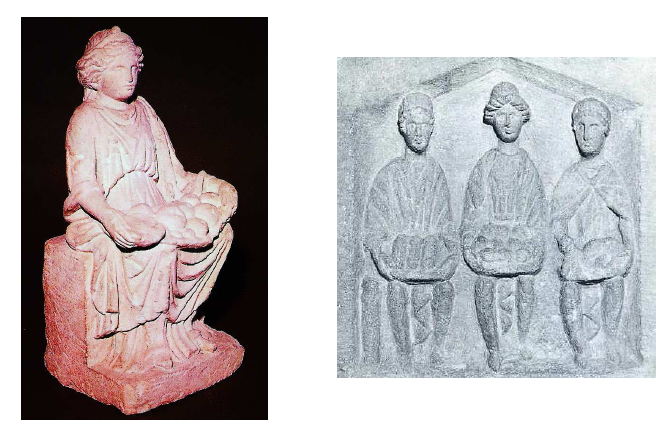 Left: Single Mother Goddess from Alésia (Côte d'Or). In the Musée Alésia. Deyts, 1998, n° 28, p. 67. Right: Plaque from Cirencester, Gloucestershire (GB), representing triple seated mothers of Classical type. In Corinium Museum, Cirencester.LIMC, Suppl., vol. 8, 2, p. 554, n°16. Again, note the bowls of fruit and bread in the laps of the seated figures, and the distinctive clothing styles. Images from http://theses.univ-lyon2.fr/documents/getpart.php?id=lyon2.2009.beck_n&part=159103