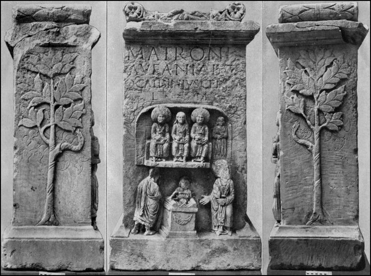 Bonn (Stadt Bonn; NRW): Altar by C. Caldinius Celsus to the Matronae Aufaniae with trees depicted on the side panels (Abb. nach Lehner 1930, Taf. 16). Note the snakes wrapped around the trees on the side panels, and the scene of sacrifice beneath the three seated female figures in the center image. Image from http://www2.rgzm.de/Transformation/Deutschland/GoetterHeiligtuemerNiedergermanien/Goetter/Abb15EN.htm
